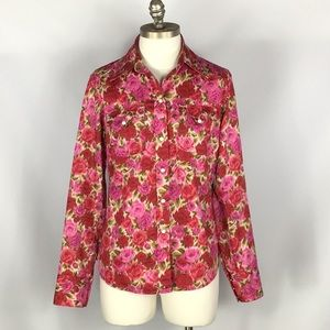 EUC Lucky Brand Rose Wester Pearl Snap Blouse M